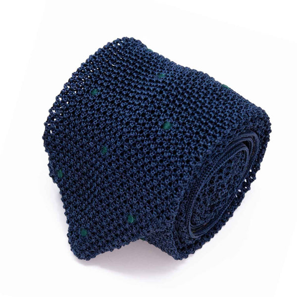 Sera Fine Silk- Navy/Blue/Green Polka Dot Zig Zag Point Knit Tie