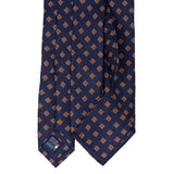 Sera Fine Silk- Navy Blue with Light Blue Rombs Pattern Silk Tie