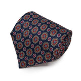 Sera Fine Silk- Navy Blue with Round Pattern Silk Tie
