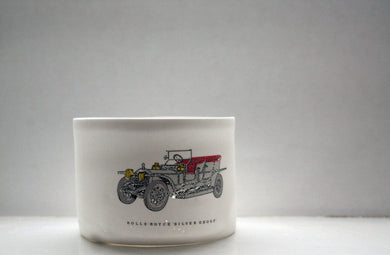 Car on a vase. English fine bone china stoneware, small vase, bowl with vintage rolls - royce silver ghost illustration