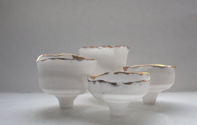 Japanese inspired small ornamental cup handmade from English fine bone china with a real gold rim