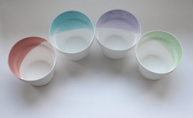 Small cup. Small English fine bone china planter in 4 pastel colours