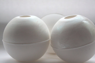 Bud vase. White spheres made from English fine bone china with a hint of mother of pearl on the top half - geometric decor - iridescent