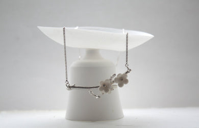 Summer blossom solid sterling silver necklace with porcelain flowers - silver twig necklace