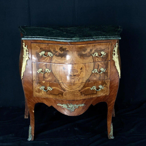 French Louis XV Style Marble Top Side Table or Nightstand with Intricate Marquetry