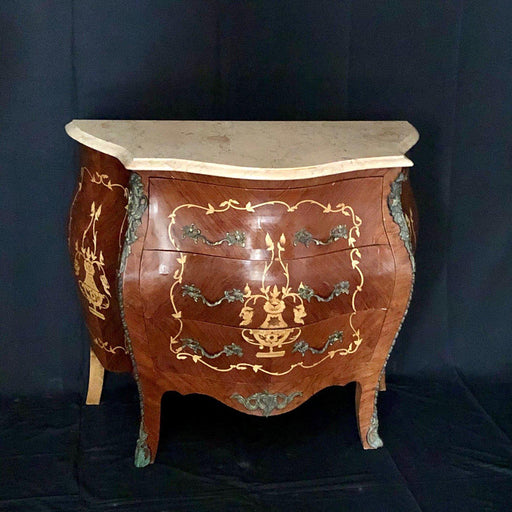 French Louis XV Style Side Table or Nightstand with Detailed Inlay and Cream Marble Top