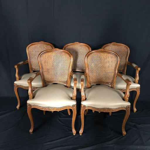 Set of Five Louis XV French Walnut Chairs with Classic Brass Tacking