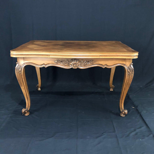French Period Walnut Country French Parquet Inlay Dining Table with Two Draw Leaves from Normandy