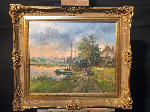 French Impressionist Painting: River Nautical Scene Unsigned