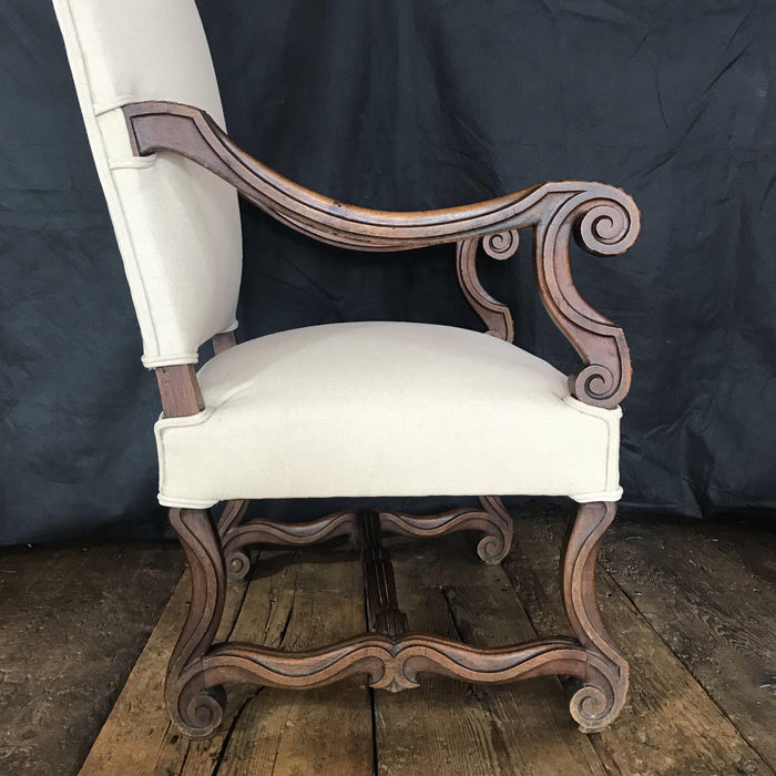 Early French Louis XV French Carved Armchair or Fauteuil Newly Upholstered in Neutral French Linen