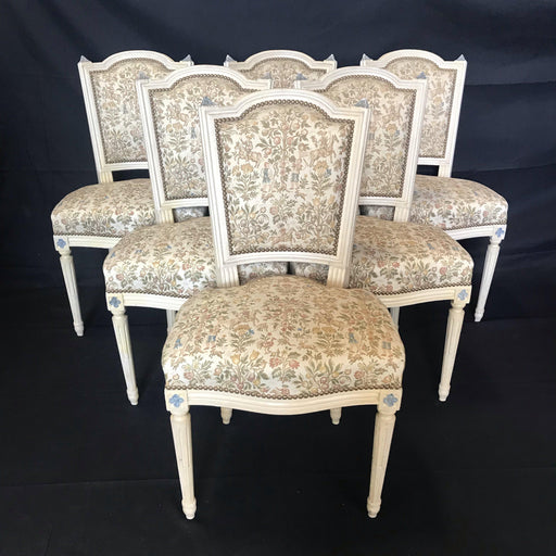 French Set of Six Louis XVI Dining Chairs with Exquisite Tapestry Upholstery and Original Paint