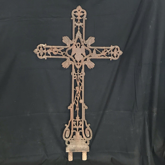 Antique French Early Iron Cross with Ladder and Angel Wings Detail