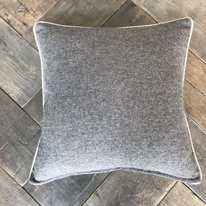 British Flannel Neutral Beige and Gray/Brown Windowpane Pillow