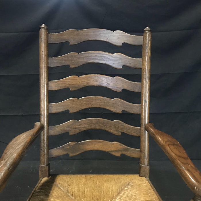Custom Set of Six Quality Classic English Oak Wavy Ladder Back Chairs with Rush Seats