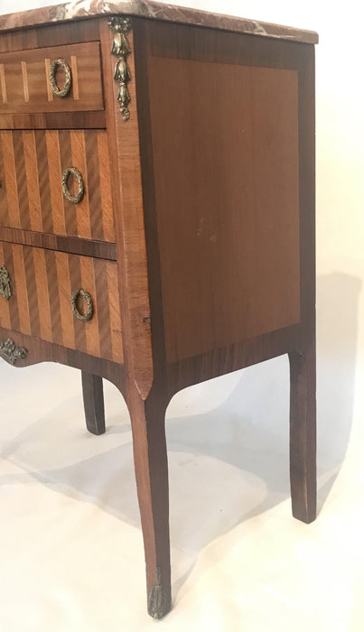 French Inlaid Marquetry Three-Drawer Commode with Marble Top To Sell