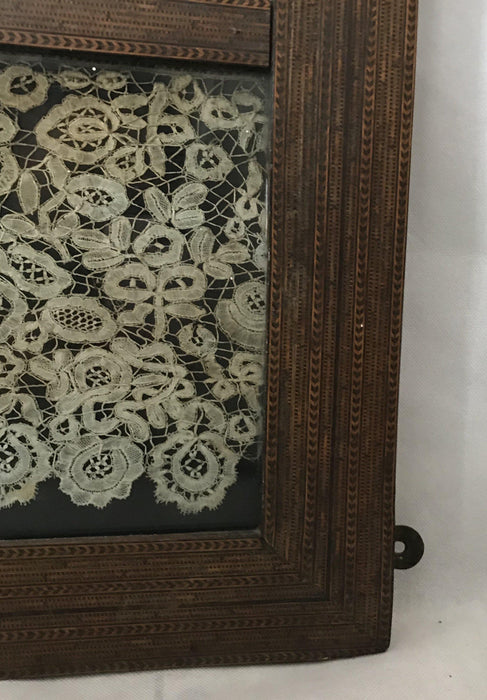 Intricate Early 17th/late 16th Century Marquetry/Inlaid Wood Checked Mirror
