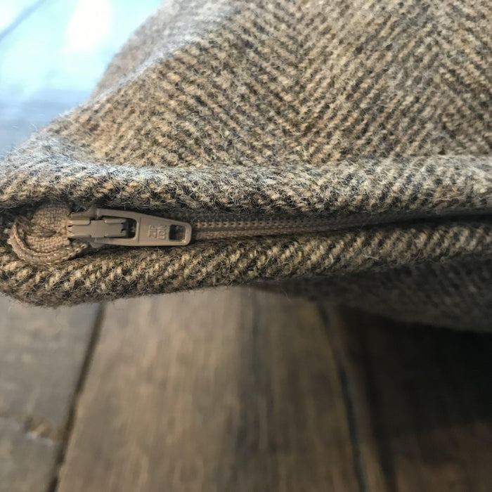 British Gray Wool Herringbone Pillow (New) to sell