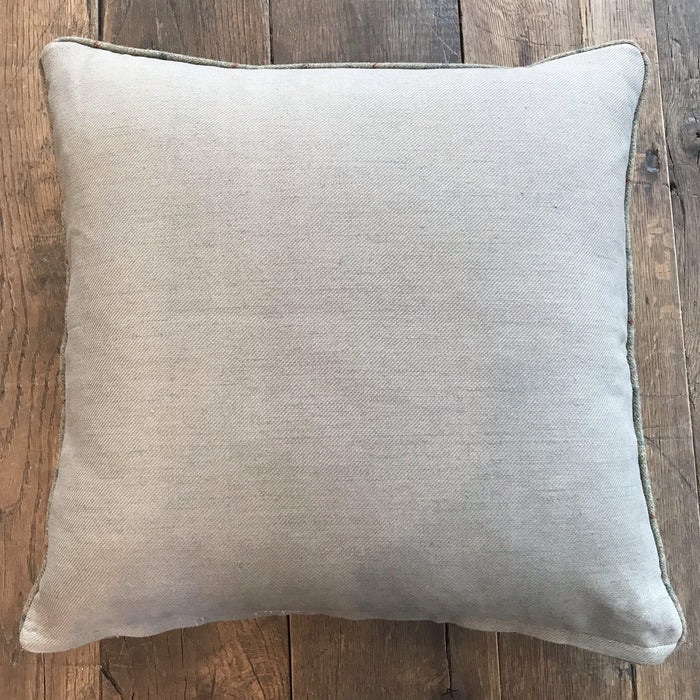 British Wool Chenille Pillow with Plaid Piping, Linen Back (New) for sale