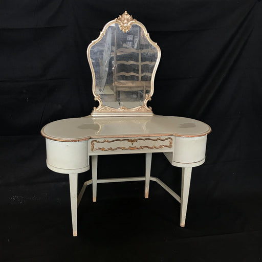 Antique French Dressing Table in Original Blue Gray Paint