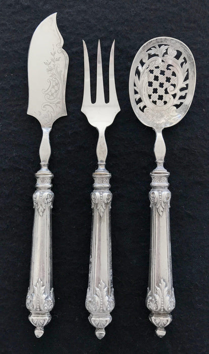 French Silver Hors D'Oeuvres Set 3 Piece. Gorgeous and detailed! for sale