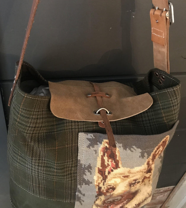 British Hunting Plaid Bag/Purse with embroidered German Shepherd dog to sell