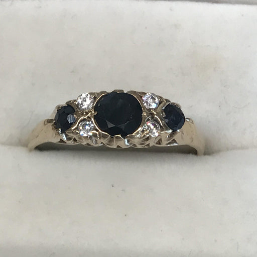 Blue and White Sapphires Band Ring