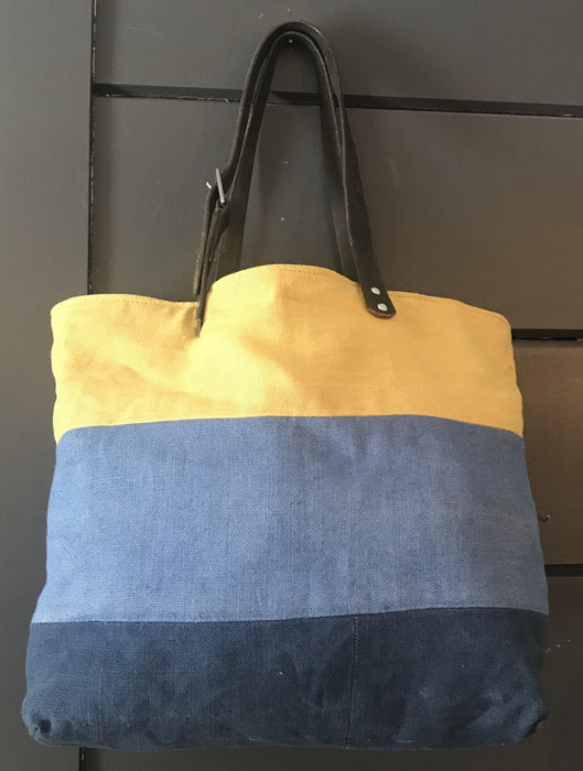French Blue/Yellow Linen Vintage Purse/Bag leather harness straps to sell