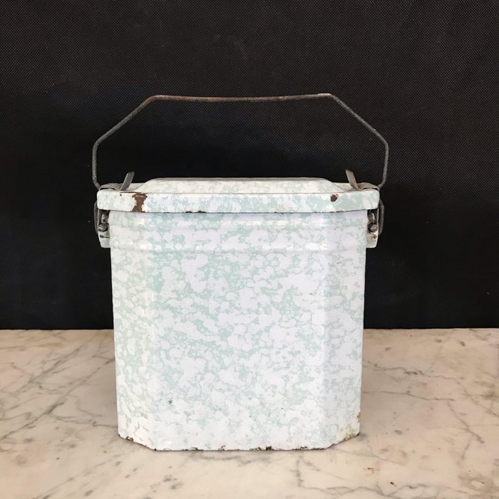Antique French Enamel Lunch Box - Speckled Green and White