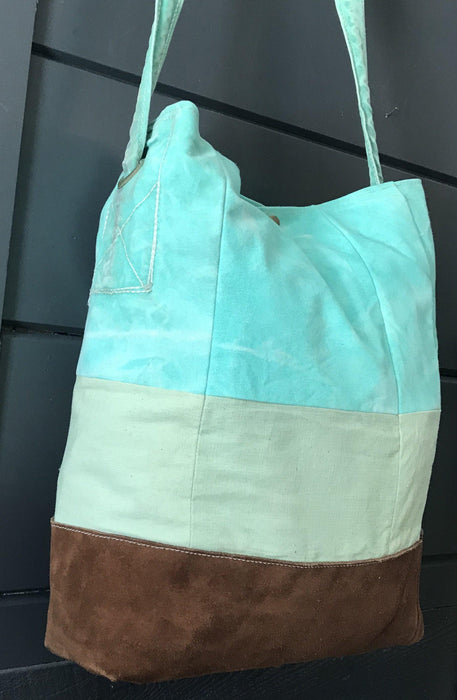 Antique British Artist-made Bag/Purse of vintage turquoise canvas tarpaulin with original handles for sale