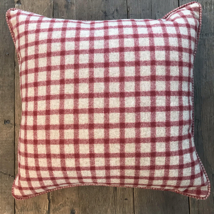 Gorgeous British Traditional Red/Beige Plaid Wool Pillow with Contrasting Checked Piping