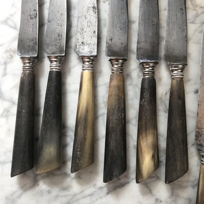 Antique Set of 12 Early French Silver and Antler Knives : Ideal Acier