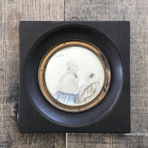 Early French Signed Watercolor of Priest in Round Ebony and Gold Frame
