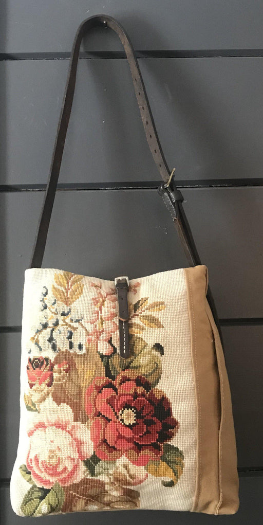Beautiful British Artist-made bag: French Canvas and Floral Embroidery for sale