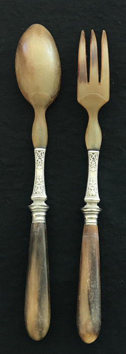 French Antique Silver and Horn Salad Serving Set