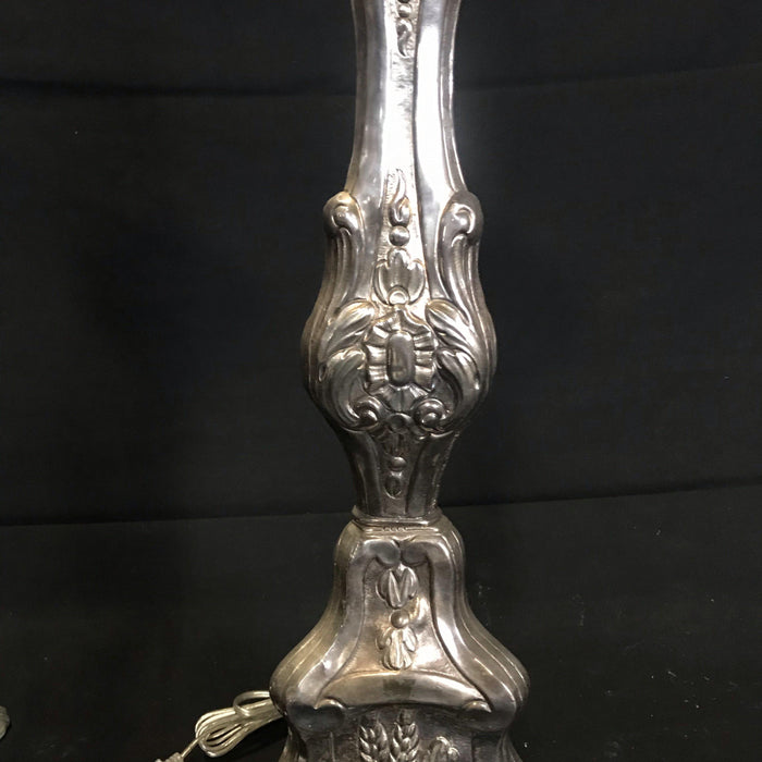 Pair of 19th century French Silvered Bronze Altar Stick Lamps