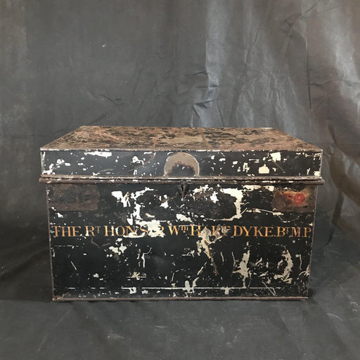 Antique British Deed Box: British M.P., 1823 Hampshire Newspaper Inside