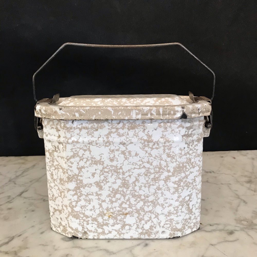 Antique French Enamel Lunch Box - Beige and Ivory Speckled