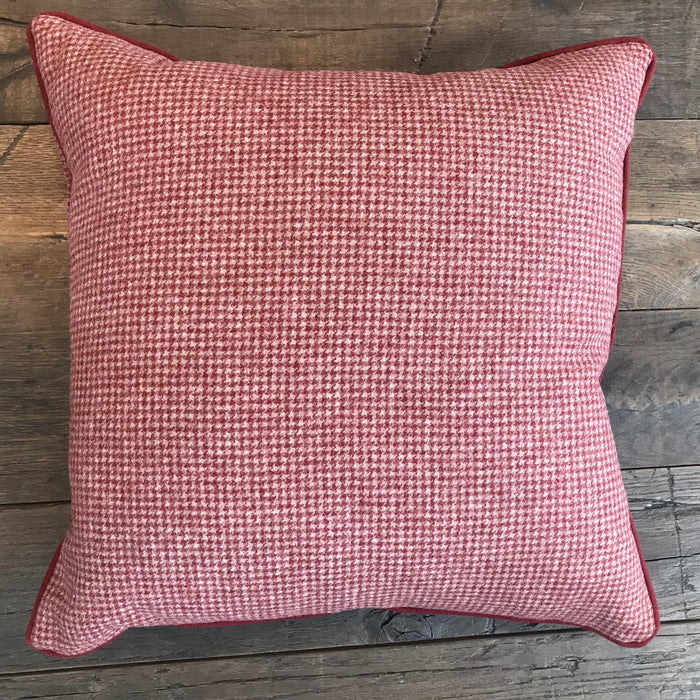 For sale: Niki British Red Wool Houndstooth Pillow with Red Piping