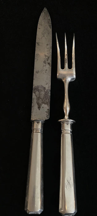 For sale: Early Silver Two Piece British Serving Set. Gorgeous!