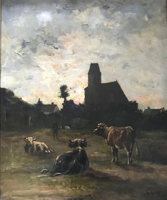 French Oil painting by listed artist Louis Remy Matifas Normandy Churchyard antique