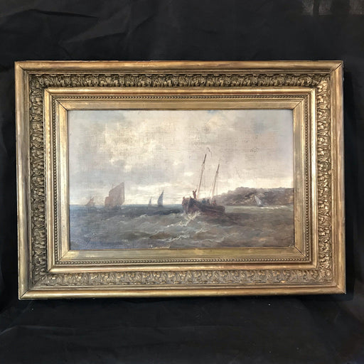 French Nautical Antique Painting Bought in Montpellier, France