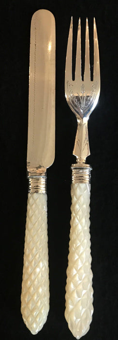 Buyt his French Early Mother of Pearl Knife/Fork Set Gorgeous!