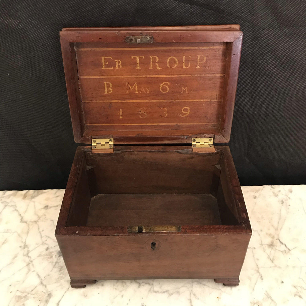 Antique Inlaid Regency Period British Box Dated 1839
