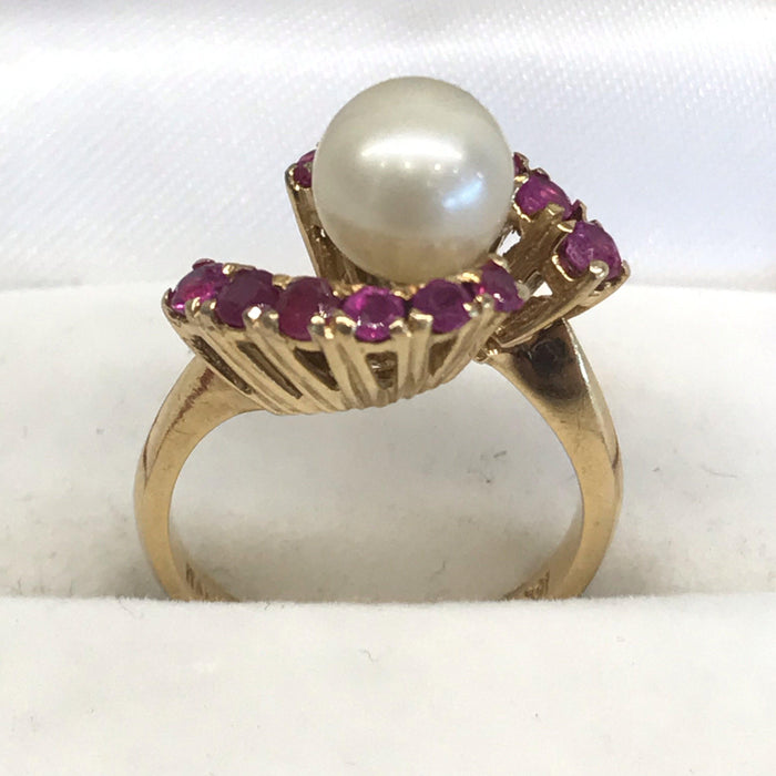 Italian Graduated Ruby and Cultured Pearl Ring
