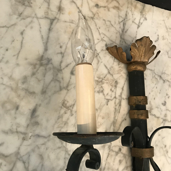 Pair French Sconces Original Black and Gold Gilt Paint