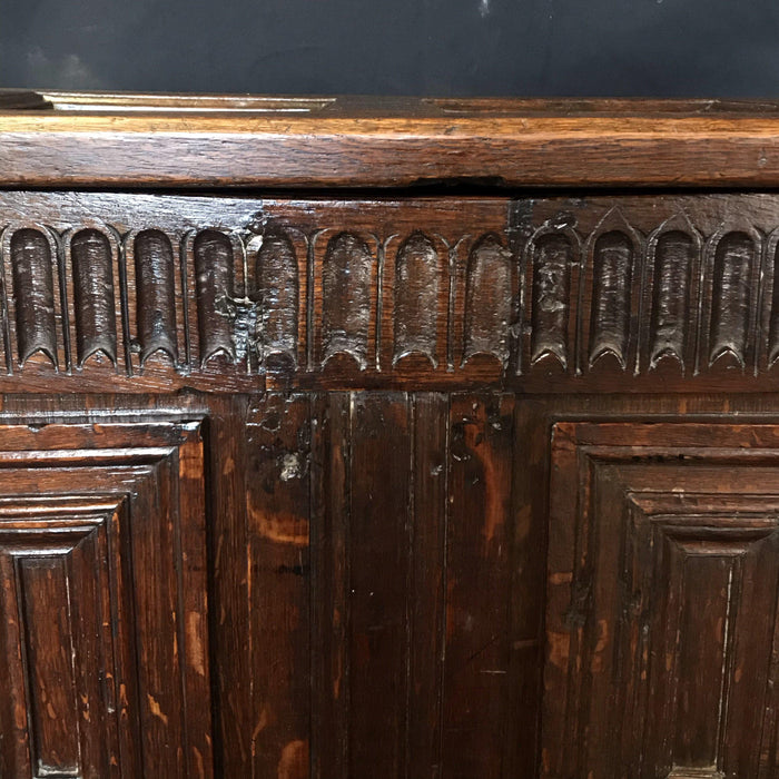 Stunning Highly Carved Paneled French Coffer Chest 18th Century