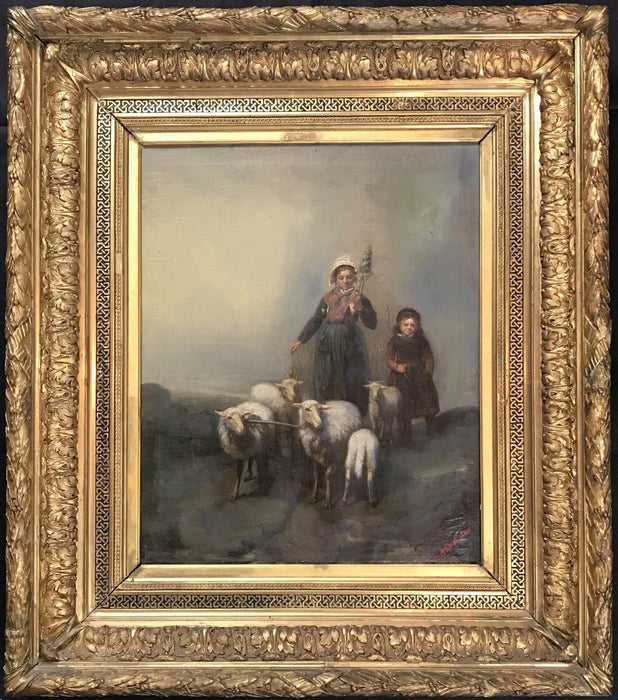 French oil painting by listed artist Agatha Doutreleau (1847-1880) for sale