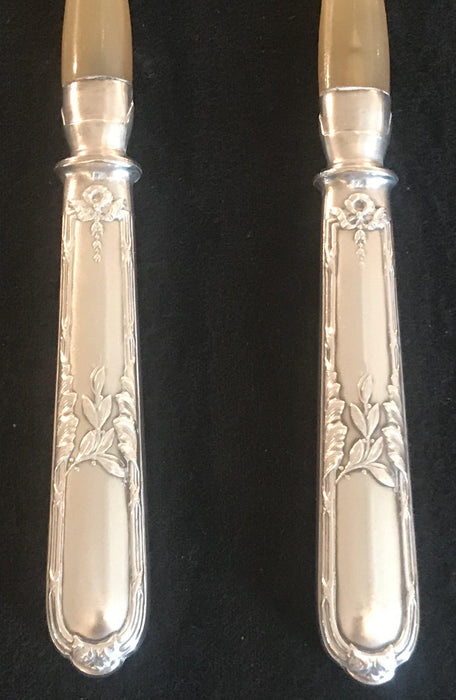 French Silver Salad Server Set in Original Box