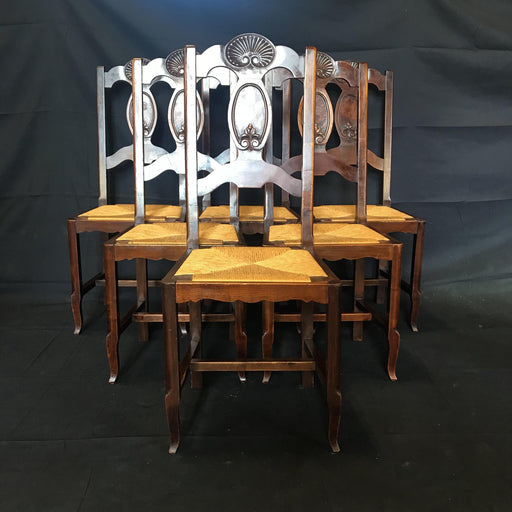 Set of Six French Country Provincial or Arts and Craft Carved Walnut Rush Seat Chairs