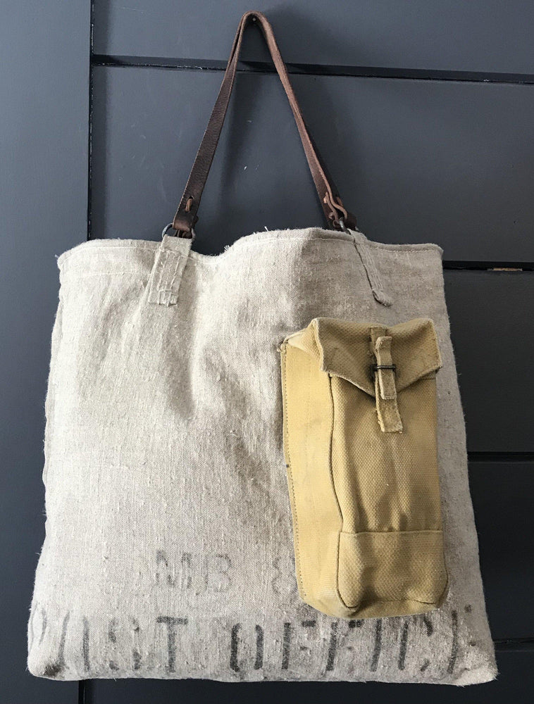 British Postal Canvas bag with Military Ammo Pack Outer Pocket, Silver Silk Viscose Interior lining, with a Belgian postal wallet interior pocket and leather handles for sale